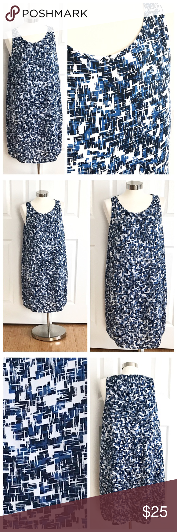Dalia Blue Sleeveless Dress Plus Size Blue white navy blue pattern dress with scoop neck, hidden zipper up back with hook and eye. Dalia brand size 14. Fully lined. 100% polyester. Dalia Dresses