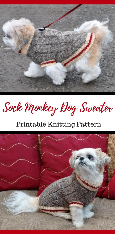 Sock Monkey Dog Sweater Knitting Pattern Printable PDF #ad #dog ...