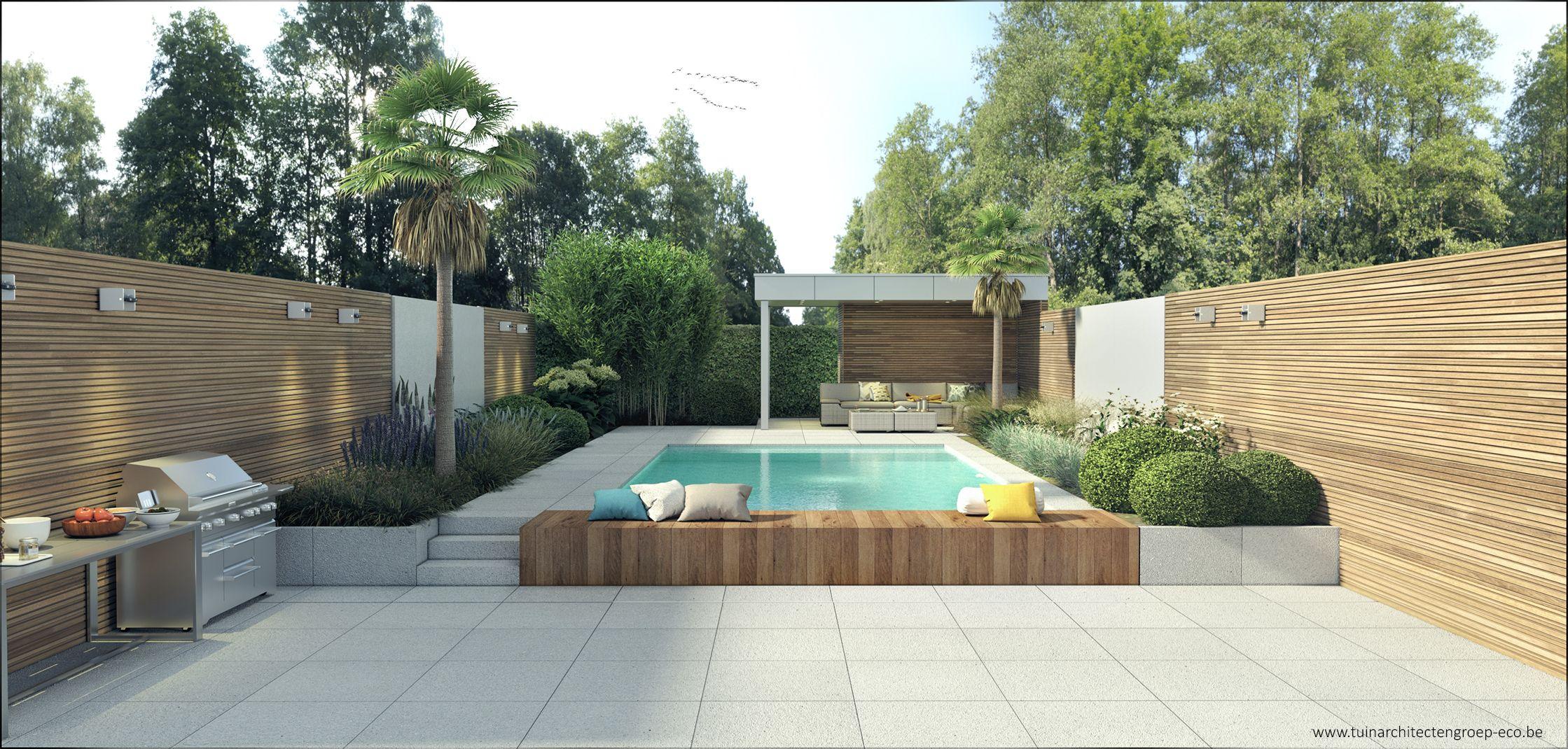 Tuinontwerp moderne tuin temse vakantiegevoel poolhouse for Tuinarchitect modern
