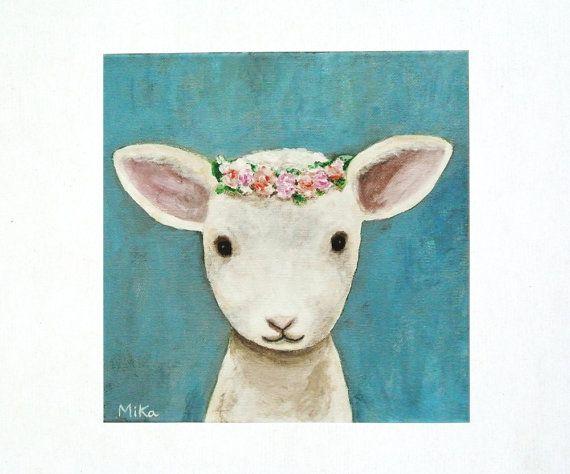 Agneau pépinière Art Print agneau mouton Illustration agneau imprimé peinture ferme impression crèche animaux Art bébé Animal crèche mur Decor mignon agneau
