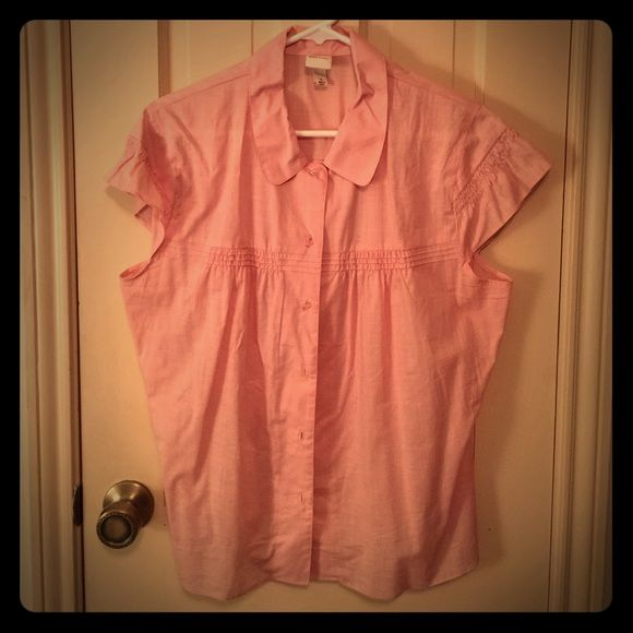 Antique rose shirt Beautiful tip with smocking details on sleeves and front and great crystal buttons. Dress it up or down, it'll work either way!! Merona Tops
