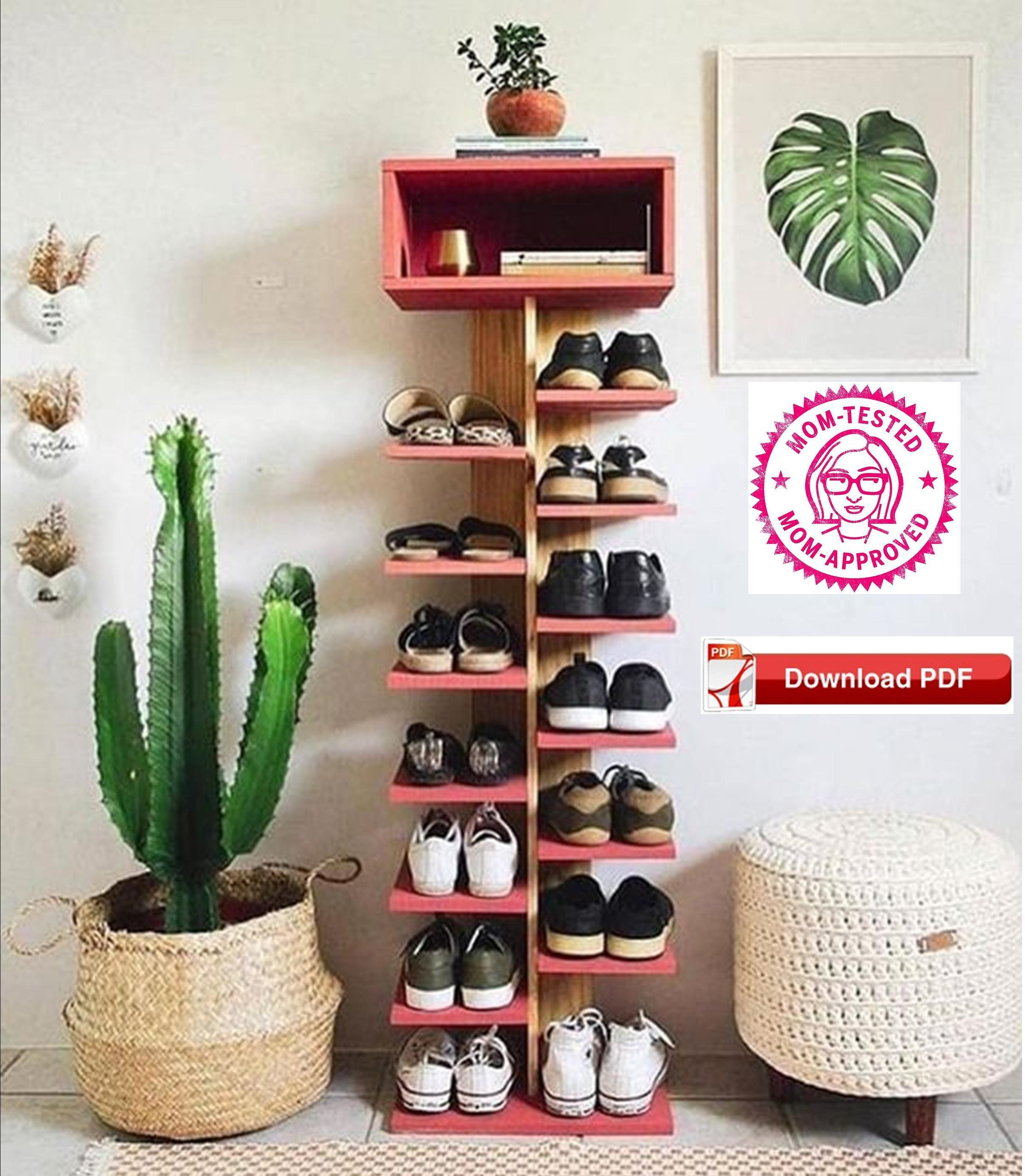 Shoe Rack Plan Shoe Tower Plan Shoe Shelf Plan Shoe