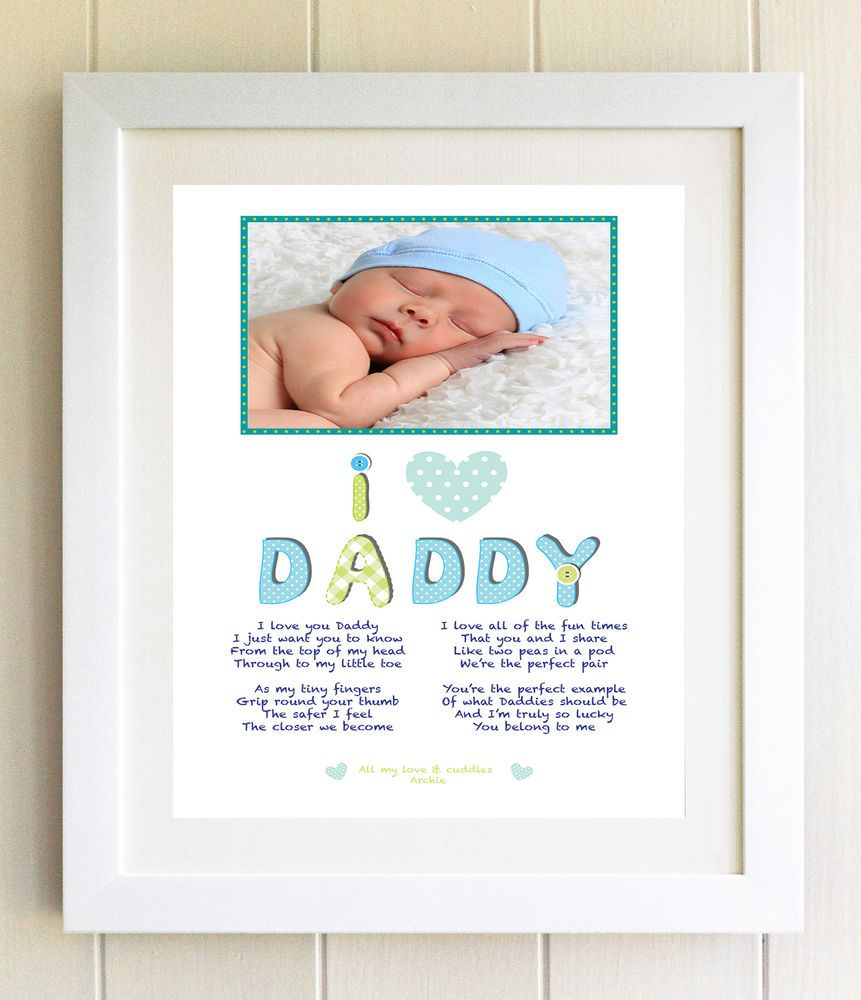 unusual personalised fathers day photo gift i love daddy poem print new dad