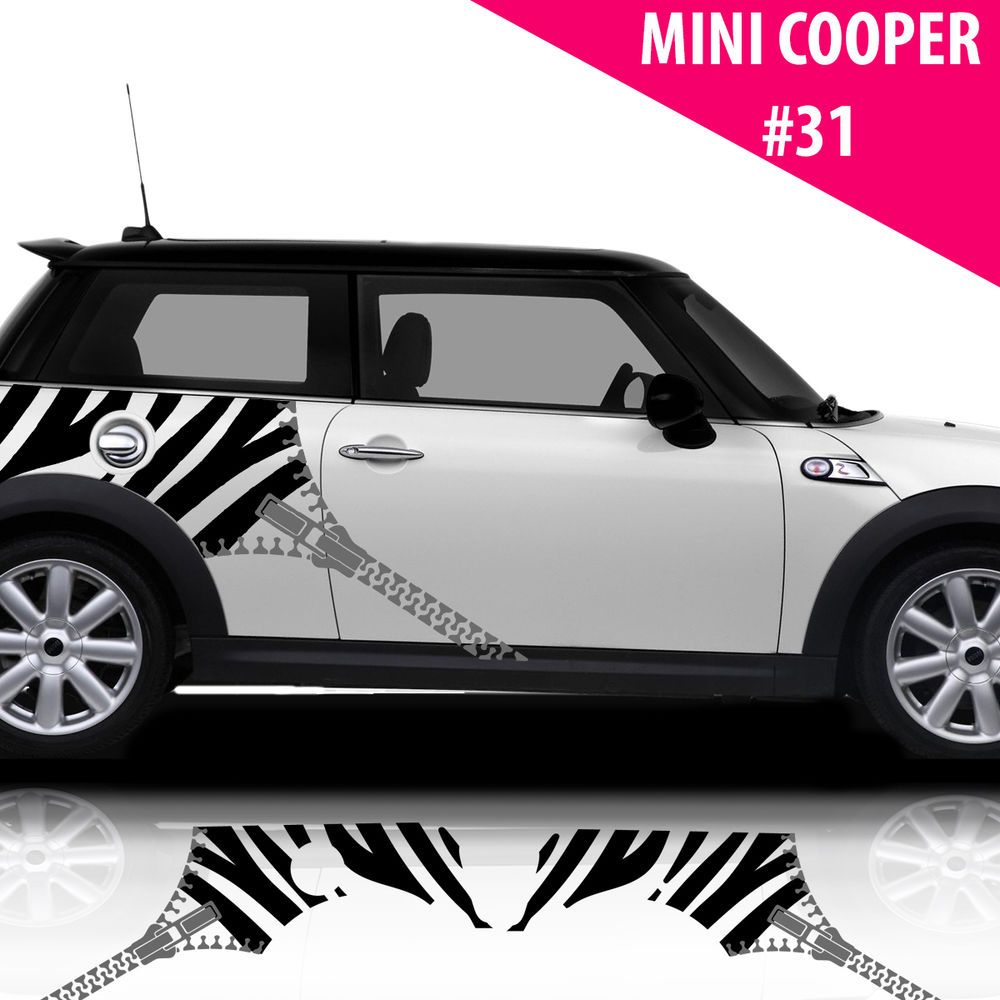 Car side stripes for mini cooper car decals car stickers zebra with zipper