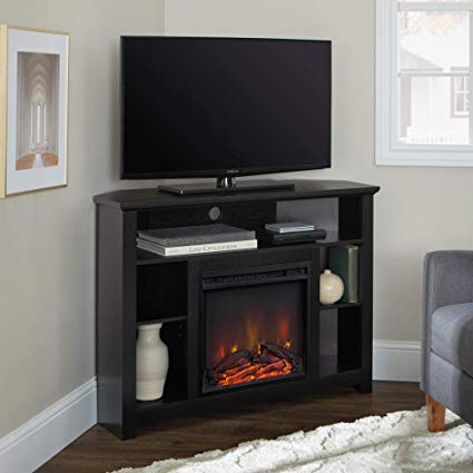 Amazon Com We Furniture 44 Wood Corner Fireplace Tv Stand Black Home Kitchen 313 22 Product Dimensions 44 X 16 X 3 Corner Fireplace Tv Stand Fireplace Dimensions Corner Electric Fireplace