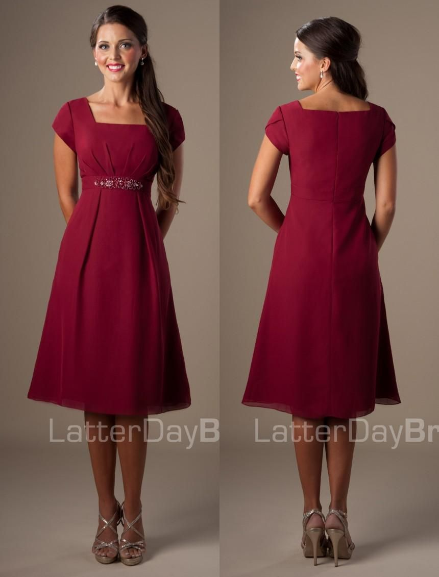 Burgundy knee length chiffon temple short modest bridesmaid dresses burgundy knee length chiffon temple short modest bridesmaid dresses with cap sleeves plus size cheap maids ombrellifo Gallery