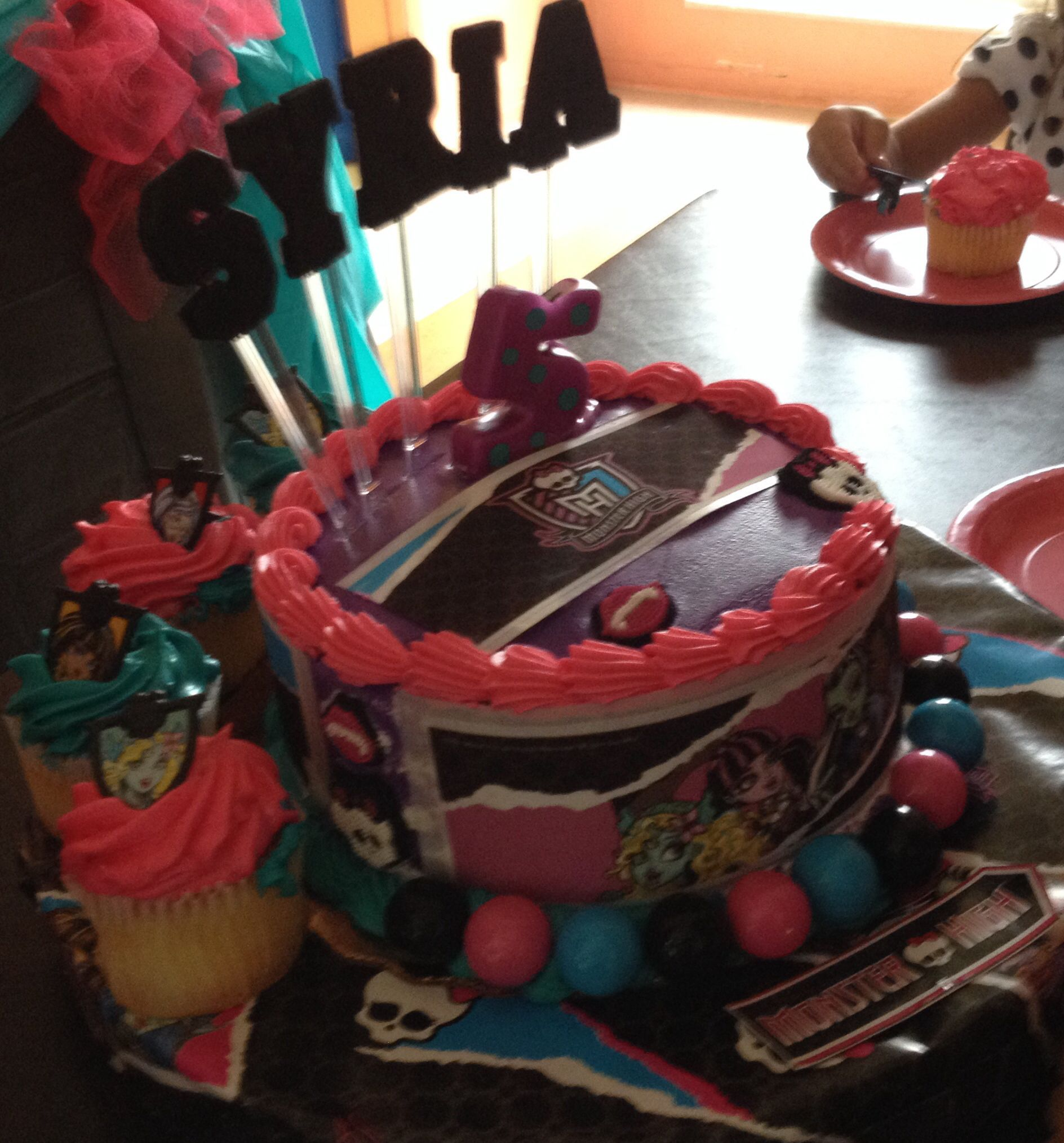 Monster High Cake And Cupcakes Ordered At Publix Bakery With Hot Pink Turquoise