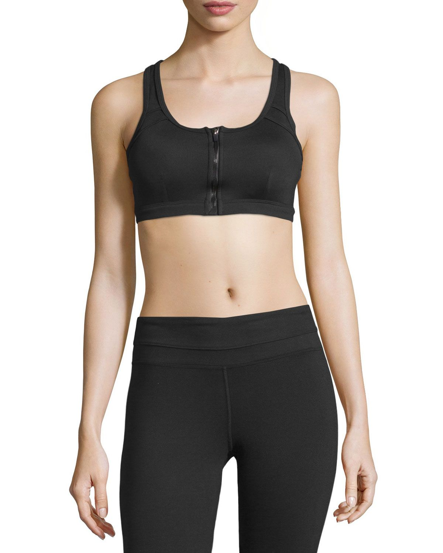 Marika Tek Judy ZipFront Sports Bra, Black Zip up