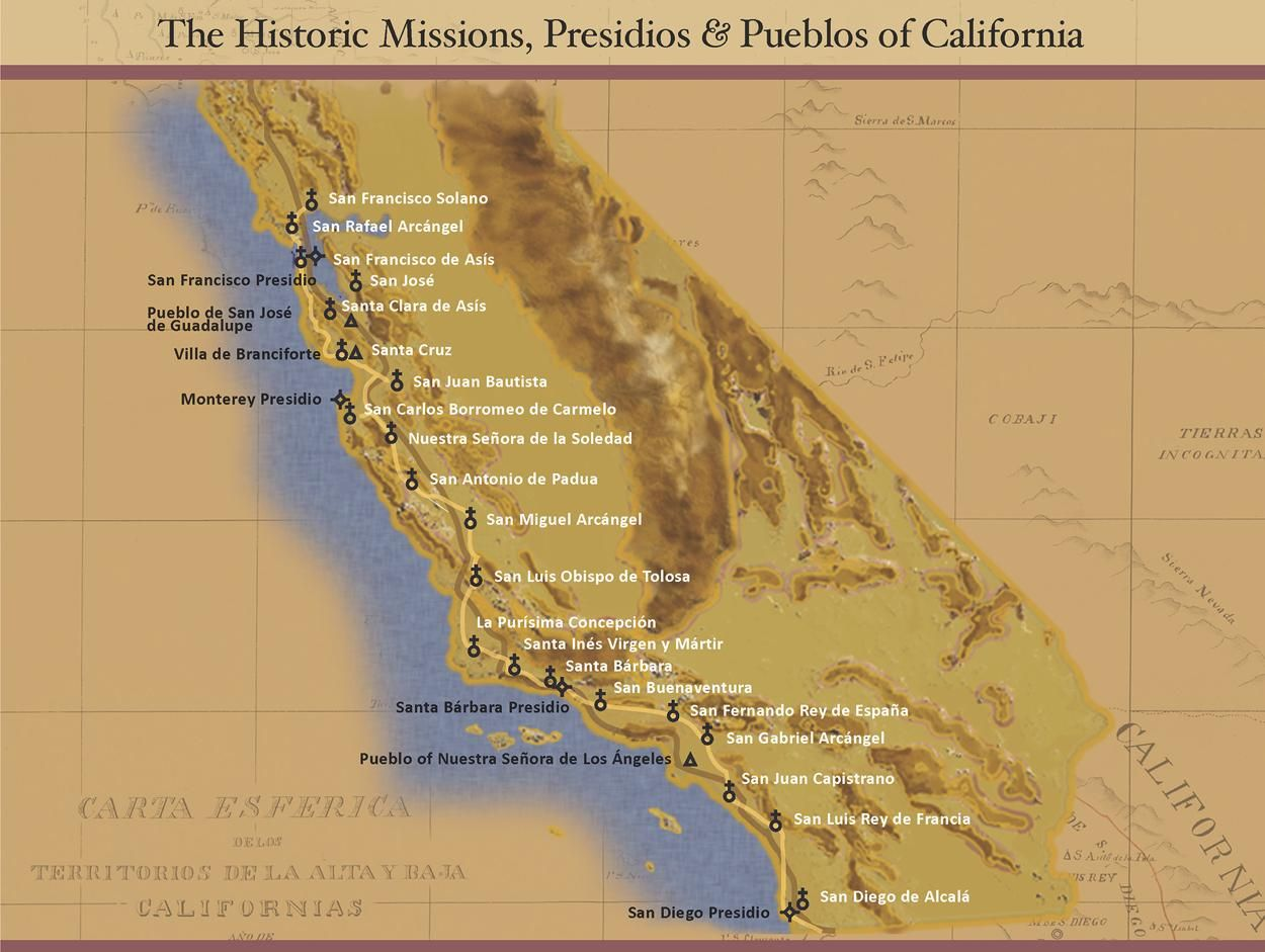 Missions In Southern California Map.All 21 California Missions Places I Am Going To Go In 2019