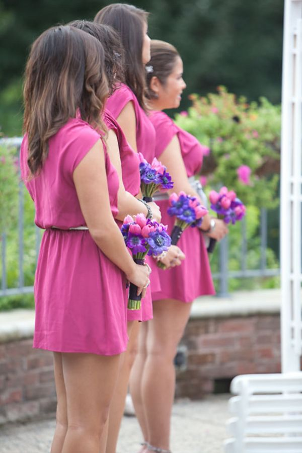 Love the shade of these hot pink bridesmaids dresses! | Always a ...