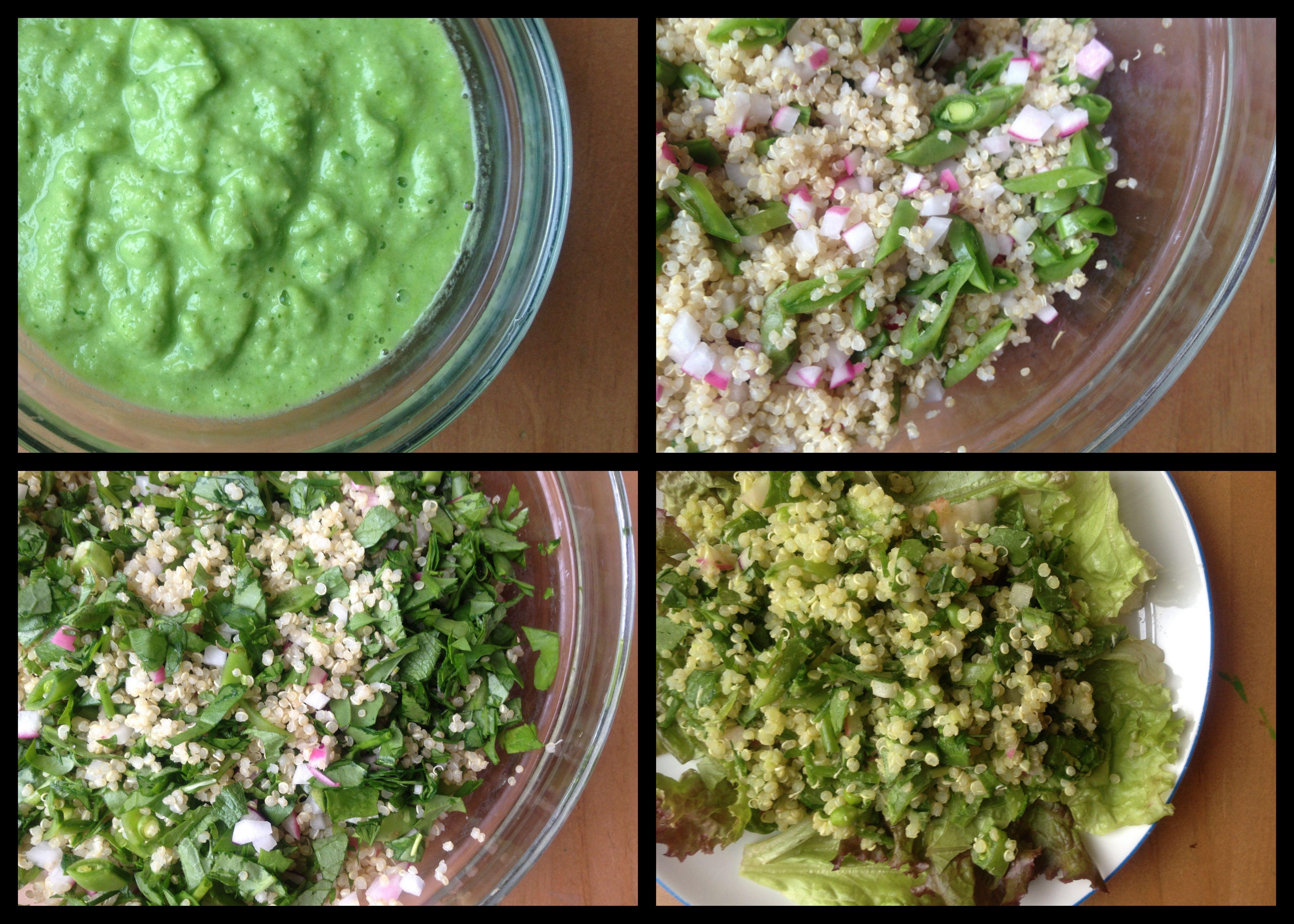 Quinoa Salad with Radishes, Peas, Arugula, and Cilantro-Sweet Corn Dressing