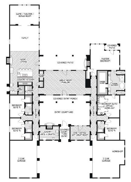 22 Cool Collection Hacienda Style Home Plans Unique House Plans Hacienda Style Homes Courtyard House Plans