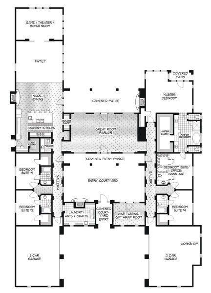 22 Cool Collection Hacienda Style Home Plans Spanish House Plans Mexican Hacienda Floor Plans Unique House Plans