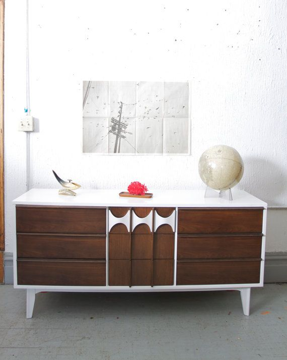 RESERVED FOR DAVID Mid Century Modern Painted White And Walnut Wood Dresser  / Credenza     50s 60s Retro Mad Men   Brasilia Style