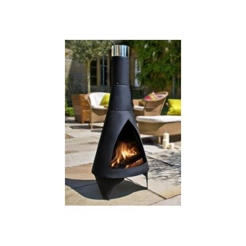 Outdoor Fire Pit Backyard Fireplace Garden Patio Modern Chiminea Steel Heater Contemporary Outdoor Fireplaces Outdoor Heating Chiminea