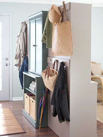 """How deceptive...and remarkably brilliant!  A DIY room divider to separate your entry from your living room!  No coat closet? No problem! Check out BHG under the heading """"Instant Entry"""""""