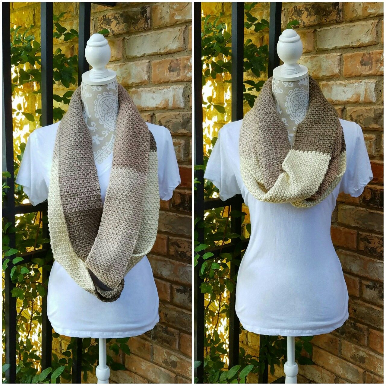 Crochet infinity scarf using the moss/granite stitch with Caron ...