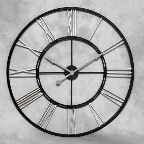 Large Black And Silver Metal Wall Clock Home Decor In