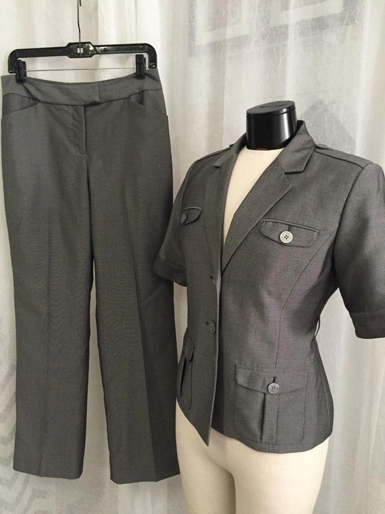Calvin Klein Petite Luxurious Gray Sheen Women's Lined Pant Suit Size 8P Nice | eBay