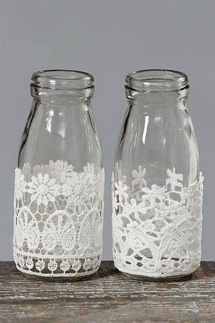 vasinhos decorados com renda reciclar pinterest flaschen flaschen dekorieren und glas. Black Bedroom Furniture Sets. Home Design Ideas