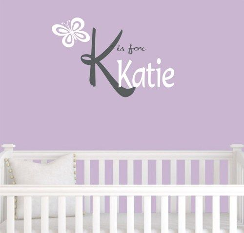 Personalized baby girl nursery decal with butterfly.  Your choice of colors.