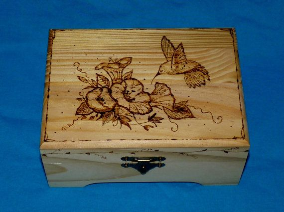 Decorative Wood Jewelry Box Wood Burned Box by EssenceOfTheSouth