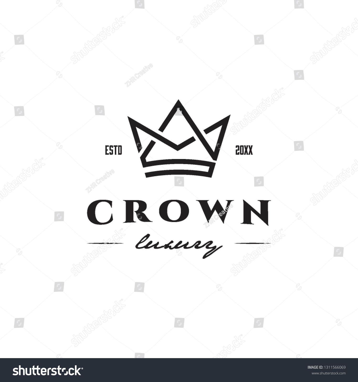 simple geometric monoline crown luxury logo icon vector