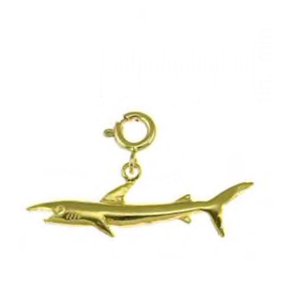 New 14k Yellow Gold Hammerhead Shark Pendant