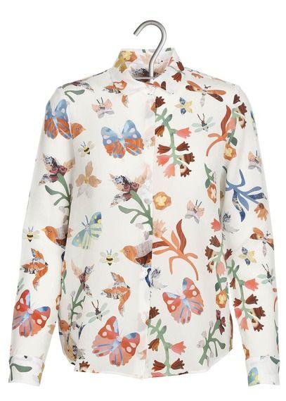 e shop chemise fluide en soie imprim e blanc cacharel pour femme sur place des tendances groupe. Black Bedroom Furniture Sets. Home Design Ideas