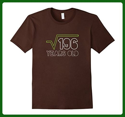 Mens Square Root Of 196 T Shirt 14th Birthday 14 Years Old Gift Small Brown