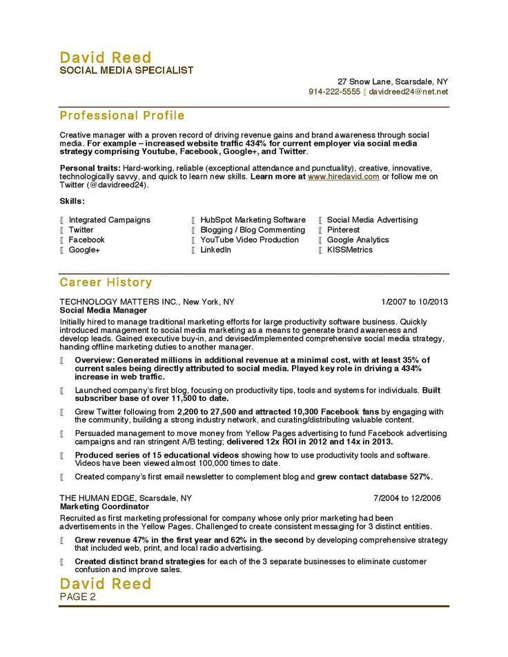 Social Media Resume Resume Template media Resume
