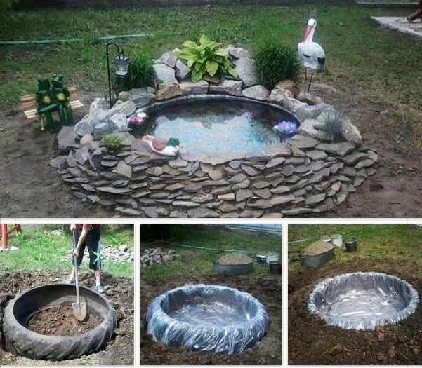 Diy little pond out of a old tractor tire diy for Plastic pond ideas