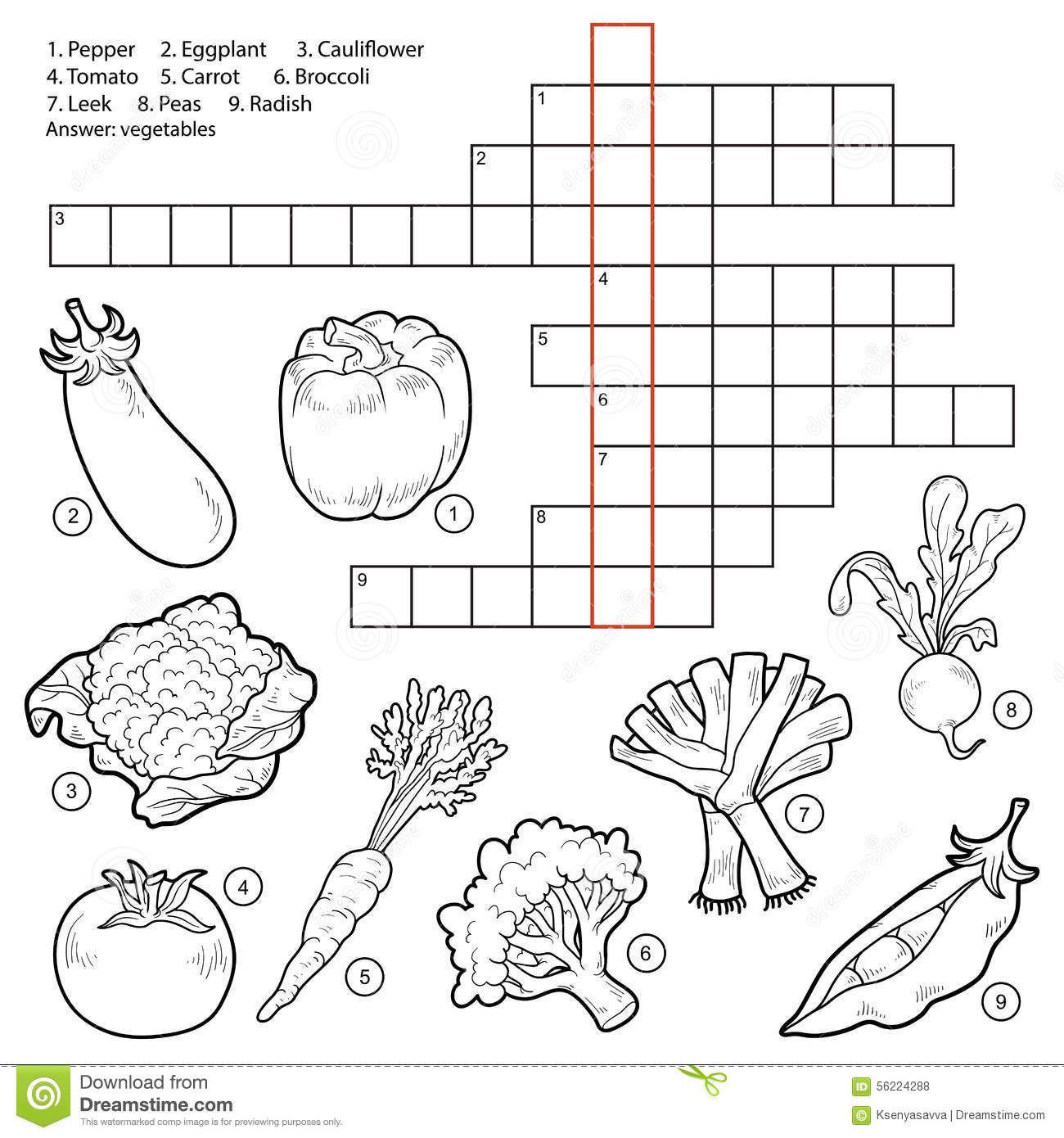 Vector El Crucigrama Juego Para Los Ninos Sobre Verduras