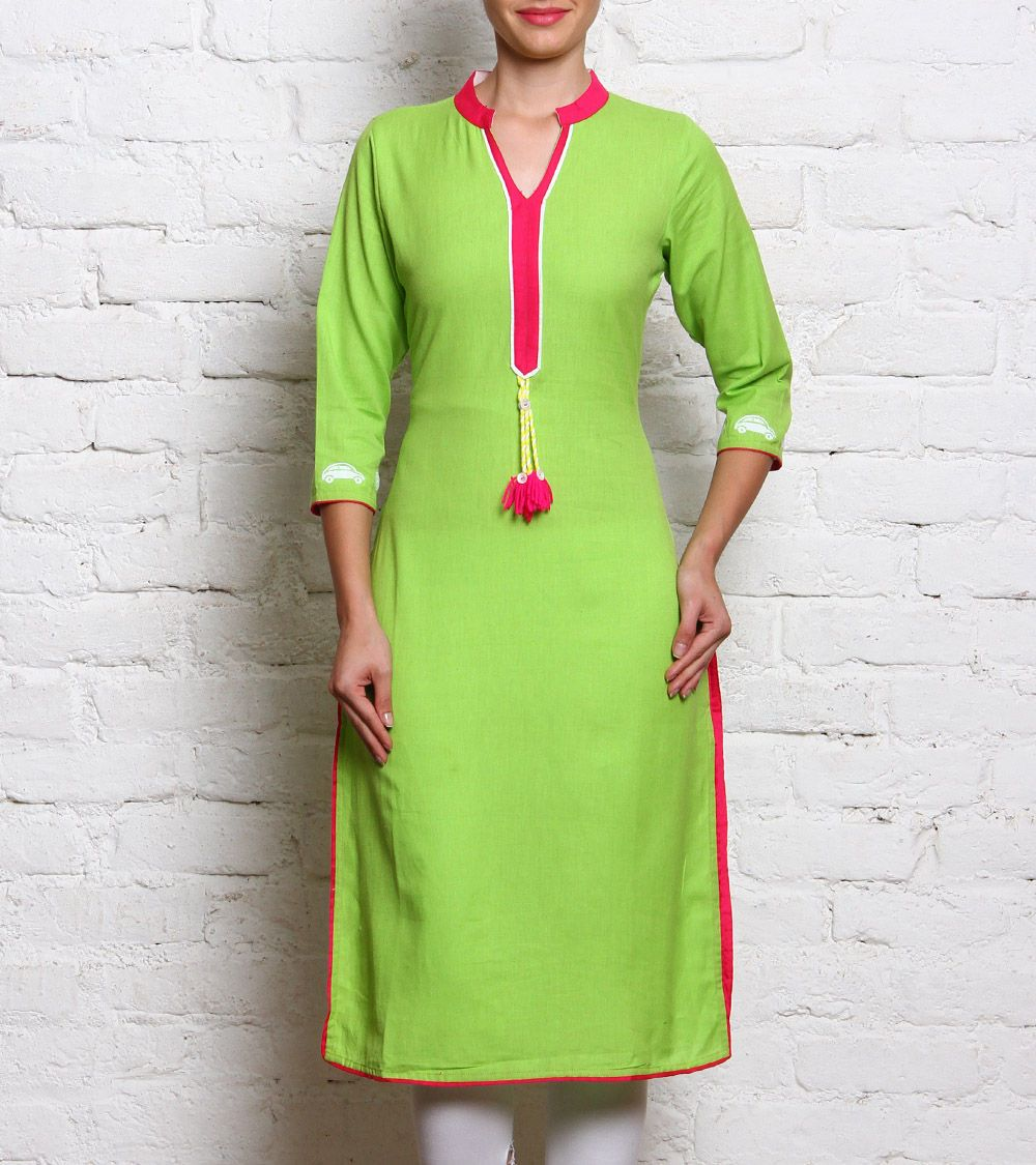 #Green & #Pink Linen #Kurta With #Patch Work At