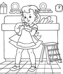 kids doing chores coloring pages - vintage coloring pages could use as embroidery patterns
