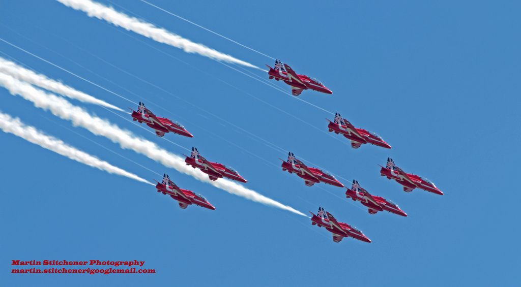 Royal Air Force Bae Hawk Red Arrows at Eastbourne 16th August 2014