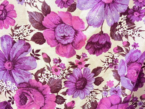 845c0eb1efd4 vintage floral barkcloth curtains / 1960s mid century barkcloth fabric /  retro purple and pink curtain panels / vintage drapes upholstery