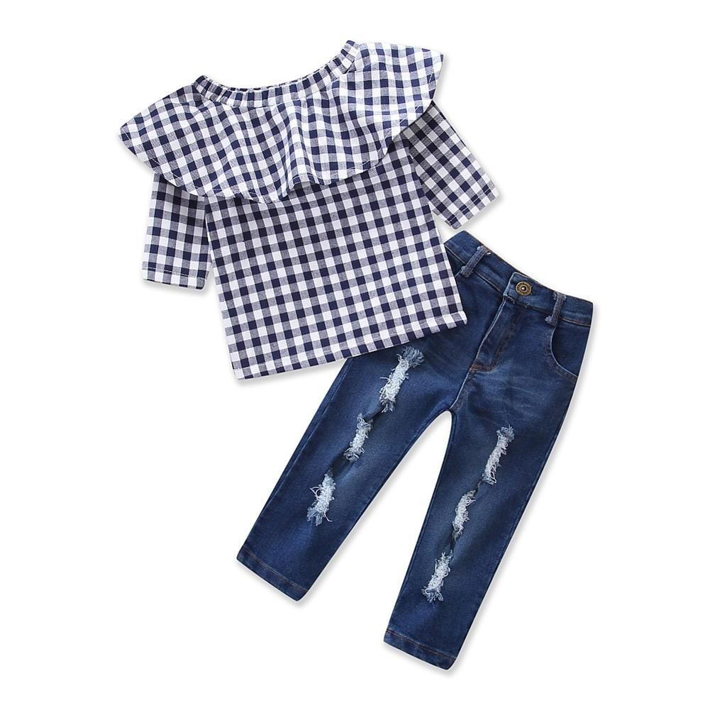 6518f7960038a Pudcoco Toddler Kids Summer Girls Clothing Set Plaid Ruffle T-shirt Long  Sleeve Tops +Ripped Denim Jeans Pants Boutique Clothes.