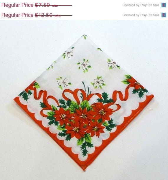 Vintage Christmas Handkerchief - AS IS  Recycle Poinsettia Hankie w Red, Green & white - 1960's Hanky