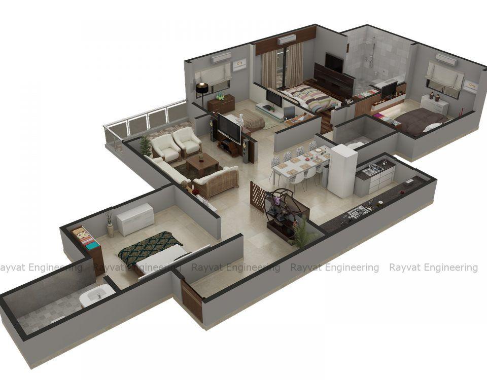 3d Floor Plan Services Architectural 3d Floor Plan Rendering Rendered Floor Plan Floor Plans Floor Plan Design