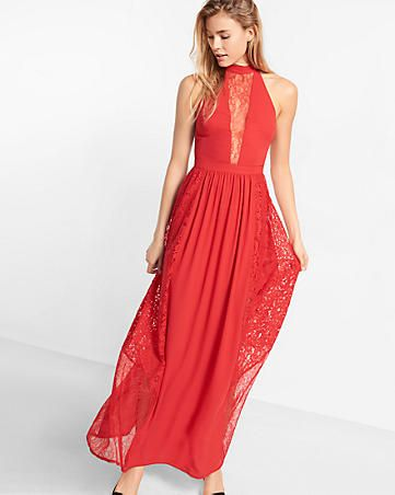 pieced lace halter neck maxi dress | Occasion