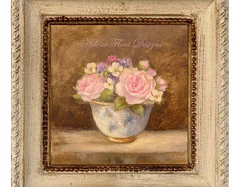 Tea rose Bouquet of roses in a Limoges cup par TheFrenchCountryShop