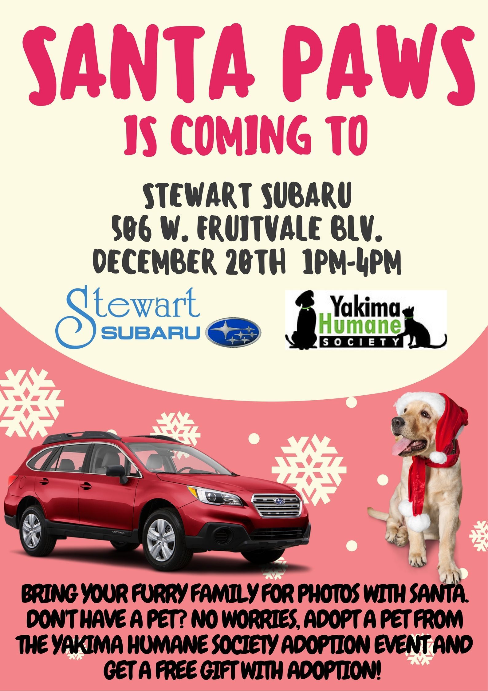 December 20th Get Your Family Pictures With Santa Paws At Stewart