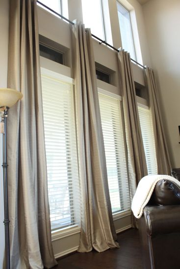 Tall window curtains on pinterest picture window for Blinds for tall windows