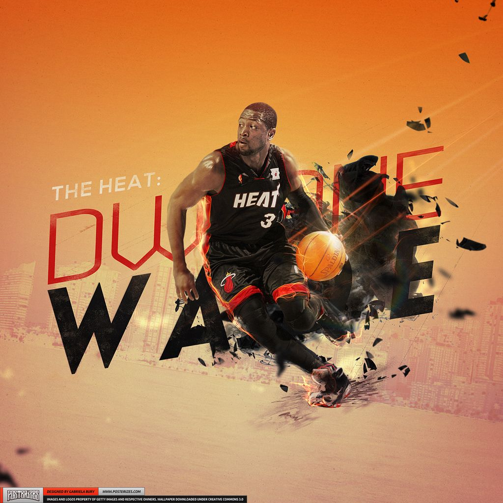 Dwyane Wade 'Heat' Wallpaper | Posterizes.com - NBA Wallpaper Artwork