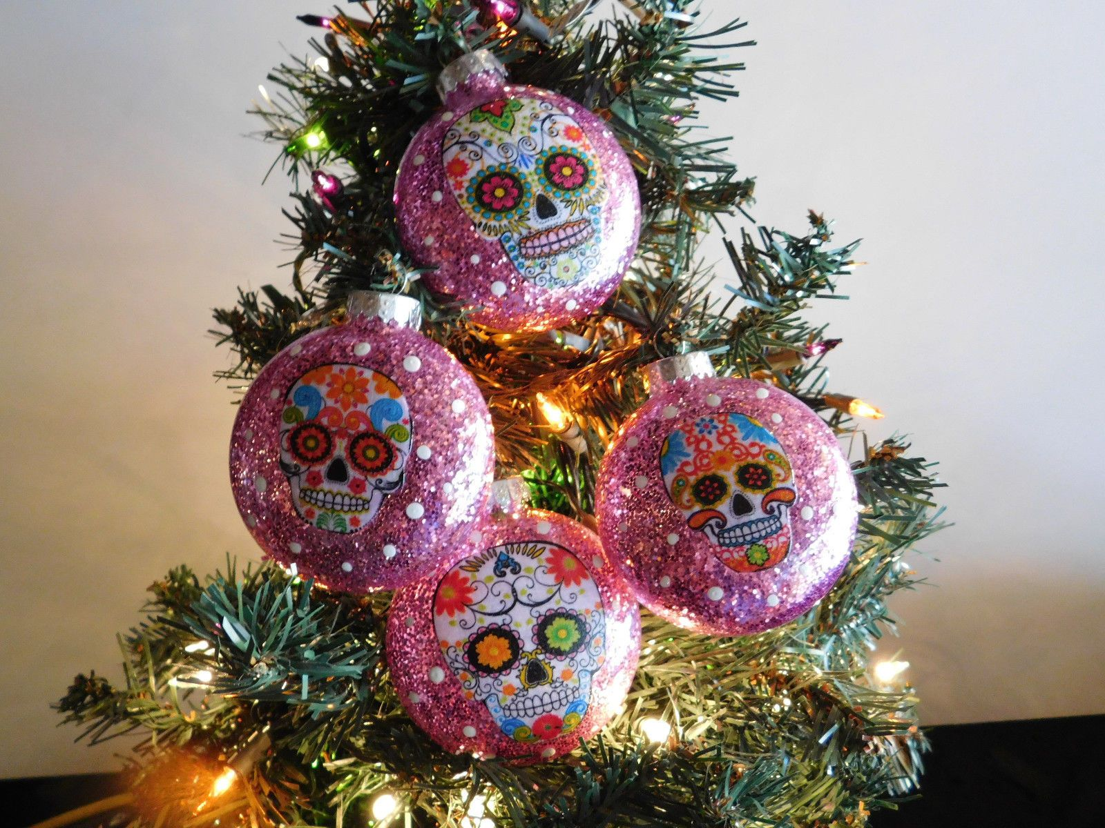 Sugar Skulls Decorated Glass Christmas Ornaments - Set of 4