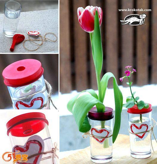 利用旧气球改造普通水杯做花瓶