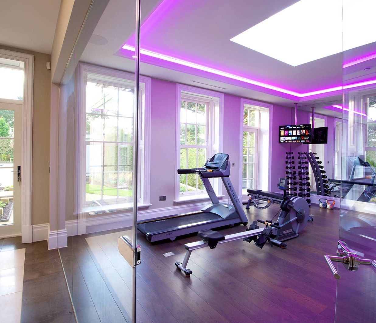 Purple Woman Cave Workout Room