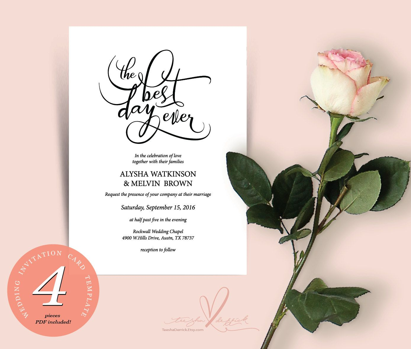 We do wedding invitation cards in instant download pdf template the best day ever wedding invitation cards pdf template kraft rustic typography theme wedding invitation set in pdf file stopboris Choice Image