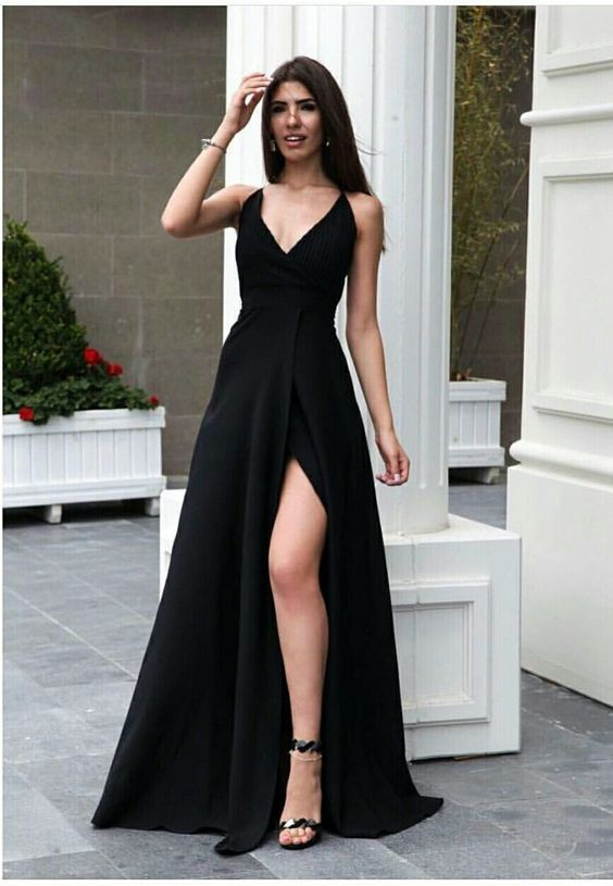 A-Line V-Neck Satin Long Prom Dress with Split Dark Green Evening Dress